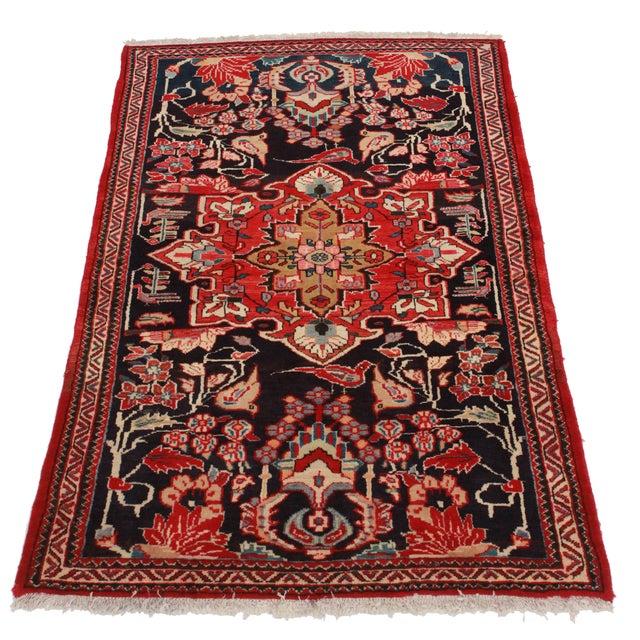 """Vintage Wool Persian Hamedan Area Rug - 4'3""""X6'5"""" - Image 2 of 2"""