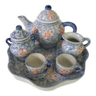 Pastel Childs Porcelain Scalloped Tray Tea Set