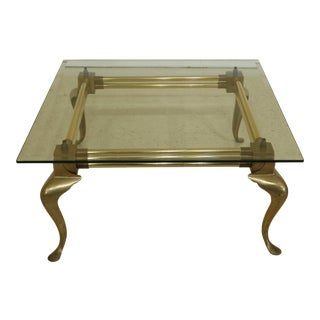 Tubular Brass & Beveled Glass Top Coffee Table For Sale