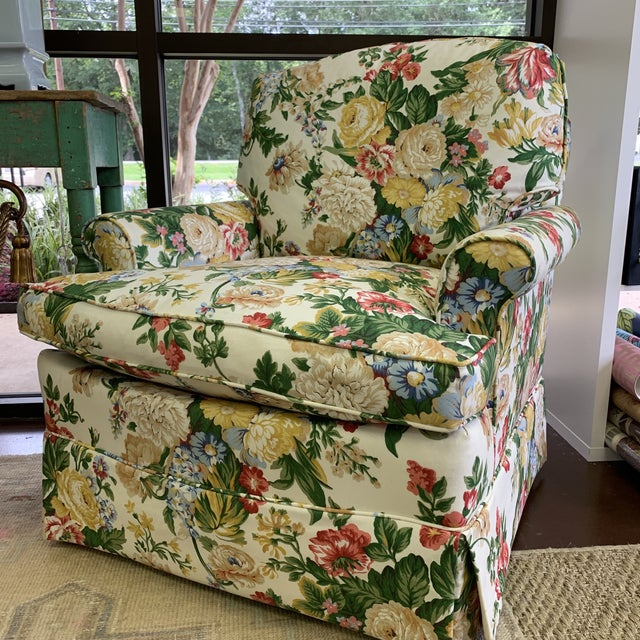 Textile Floral Club Chair - New Upholstery (Vintage Fabric) For Sale - Image 7 of 13
