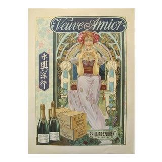 1890s Original French Art Nouveau Champagne Poster - Veuve Amiot For Sale