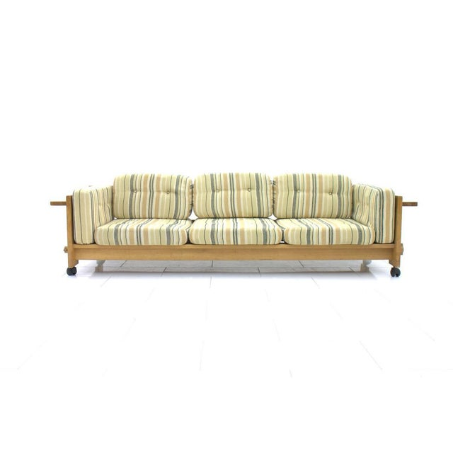 Rare solid oak sofa by Yngve Ekström for Swedese late 1960s. Very good condition with original fabric. Worldwide shipping.