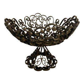 Vintage Iron Scroll Bowl For Sale