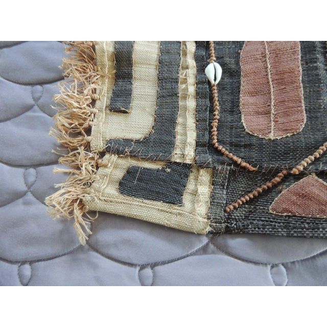 Vintage Brown and Black Earth Tones African Applique Kuba Textile Fragment with raffia fringes. Patchwork and embroidered...