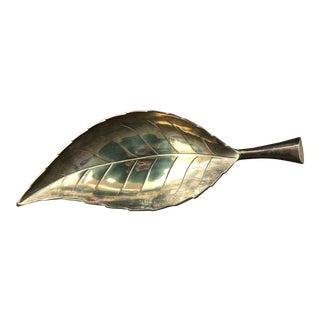 Large Vintage Brass Leaf Catchall Tray For Sale