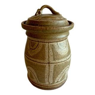 Vintage Pottery Lidded Vessel For Sale