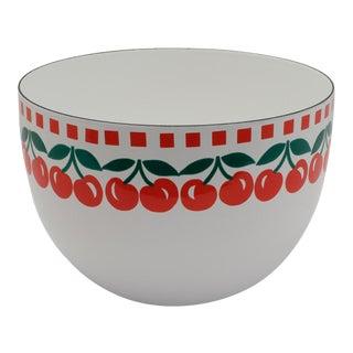 1960s Vintage Kaj Franck for Arabia of Finland Cherries Pattern Enamelware Bowl For Sale