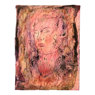 Original Outsider Artist Peter Duncan Abstract Female Portrait Painting Signed Unframed For Sale