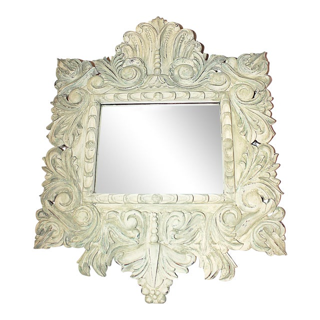 Painted Carved Mirror For Sale