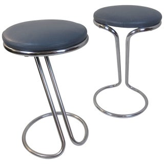 Gilbert Rohde for Troy Sunshade Company Z Stools in Leather - a Pair For Sale