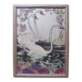 1920s Art Deco Silver Swans Oil Painting by Philadelphia Artist Signed For Sale