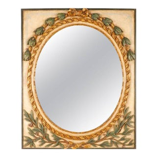 Italian Giltwood Carved and Painted Laurel Motif Mirror