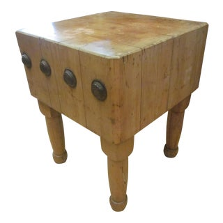 Vintage Mid 20th Century Butcher Block Maple Table For Sale