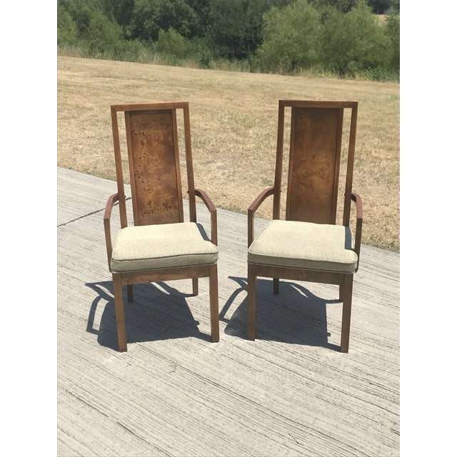 Vintage Thomasville Burled Wood Highback Arm Chairs - a Pair For Sale In Dallas - Image 6 of 6