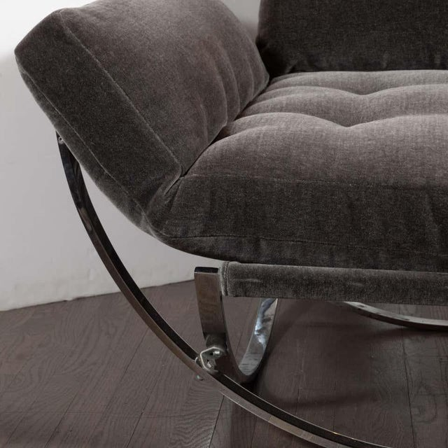 Gray Midcentury Button Tufted Chair & Ottoman in Chrome & Graphite Mohair by Stendig - a Pair For Sale - Image 8 of 13