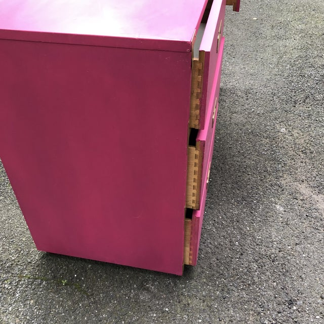 1970s Campaign Style Hot Pink and Brass Single Pedestal Desk For Sale - Image 5 of 7