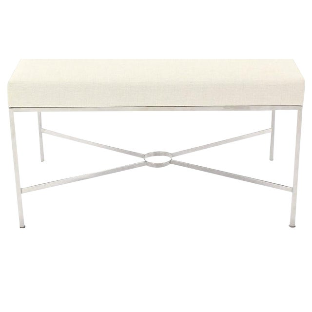 Chrome X-Base Upholstered Top Bench For Sale