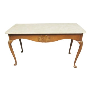 Kittinger Colonial Williamsburg Cw155 Mahogany Marble Top Table For Sale