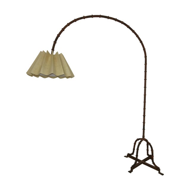 1970s Wrought Iron Faux Bamboo Arc Lamp - Image 1 of 8