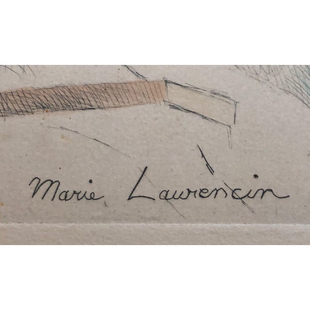 """French Marie Laurencin Hand Colored Etching """"Jeune Fille a La Guitare"""" For Sale - Image 3 of 6"""