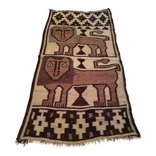 Early 20th Century Vintage Ethiopian Lion of Judah Wool Rug - 3′5″ × 6′4″ For Sale