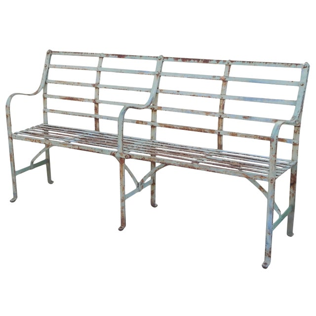 Slatted Iron Bench For Sale - Image 9 of 9