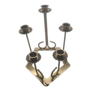 Vintage Brass Articulating Candelabra With 5 Graduated Candlesticks For Sale