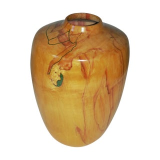Wood & Chrysocolla/Brass Inlay Vase by Barksdale