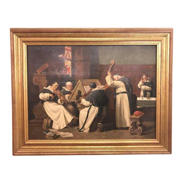 A Late 19th Early 20th Century Oil Painting Of A Group Of Monks On Board For Sale