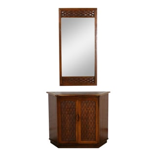 MCM Entry Console Cabinet and Mirror Basket Weave Style of Lane Perception by Warren C. Church For Sale