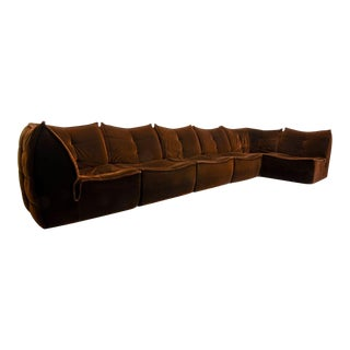 Mid-Century Design Chocolate Golden Brown Velvet 6 Elements Modular Soft Shell Sofa, 1970s For Sale