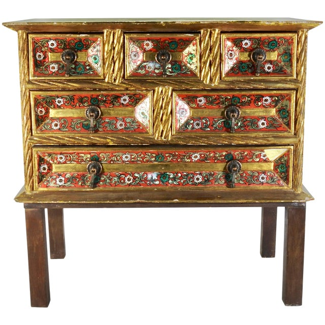 Early 20th Century Gold Gilt Chest With Reverse Painted Glass on Stand For Sale