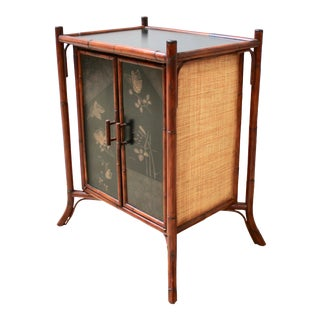 Vintage Palacek Furniture Asian-Style Bamboo Floating Two-Door Cabinet For Sale