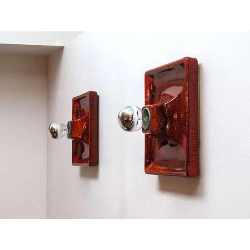 Kaiser Leuchten Red Ceramic Wall Sconces - A Pair For Sale - Image 4 of 9