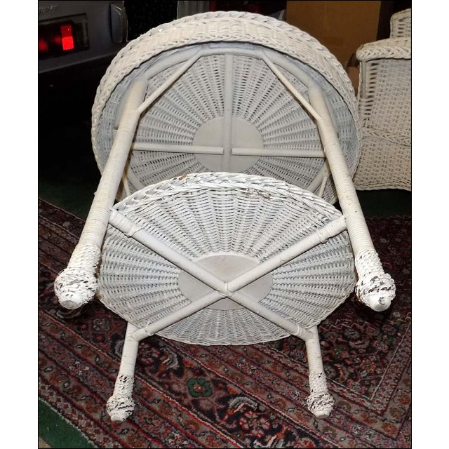 Vintage White Wicker Round Table For Sale In Jacksonville, FL - Image 6 of 7