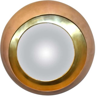Large Round Parchment Convex Mirror For Sale