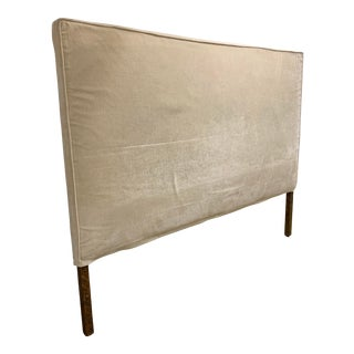 1990s Vintage King Cream Velvet Upholstered Headboard For Sale
