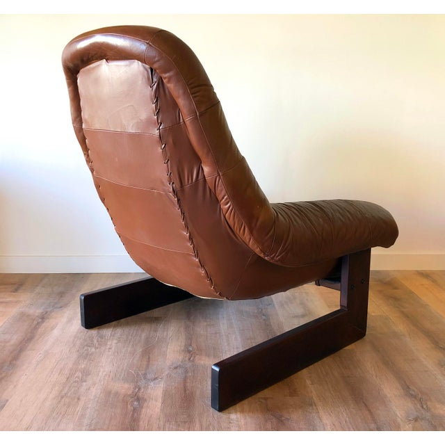 Percival Lafer Vintage Percival Lafer Tufted Leather Lounge Chair & Ottoman With Rosewood Frame For Sale - Image 4 of 13