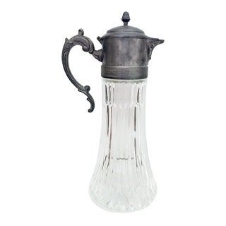 Glass and Silver Plated Pitcher For Sale