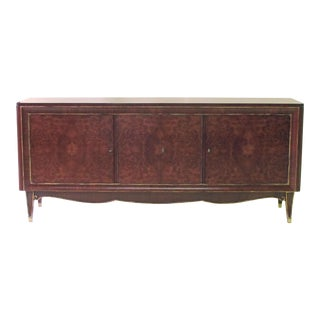 A Handsome French Mid-Century Modern Tiger Mahogany and Amboyna Wood Sideboard in the Manner of Jules Leleu For Sale