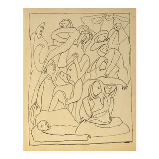 Jennings Tofel Expressionist Figures Drawing in Ink, Mid 20th Century For Sale