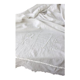 "Vintage French ""FA"" White Monogram Soft Linen Cotton Blend Fabric - 70"" x 115"" For Sale"