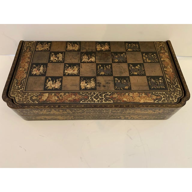 Asian Chinese Hand Painted Lacquered Game Board For Sale - Image 3 of 13