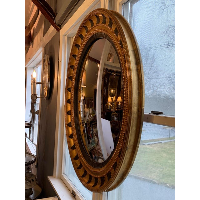 Round Regency Black and Gold Mirror For Sale In Philadelphia - Image 6 of 10