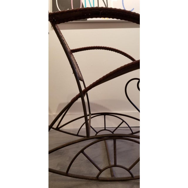 Industrial Iron and Leather Rocker For Sale - Image 9 of 13