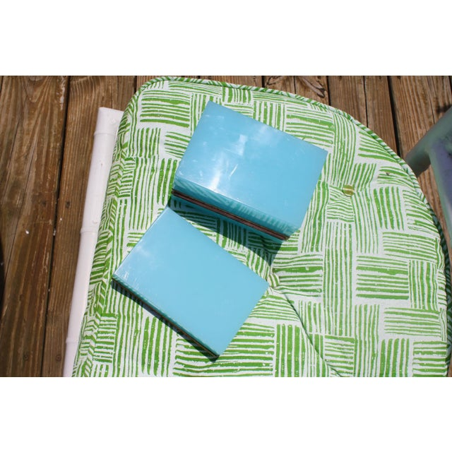 Early 20th Century French Tiffany Blue Opaline Glass Box and Ashtray Set For Sale - Image 9 of 13