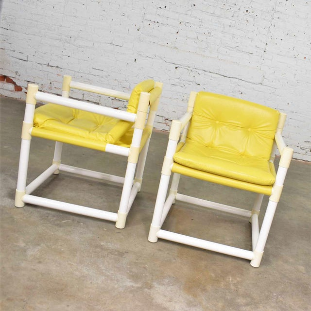 Mid-Century Modern MCM Outdoor Pvc Side Chairs Yellow Vinyl Upholstery by Decorion Fun Furnishings - a Pair For Sale - Image 3 of 11
