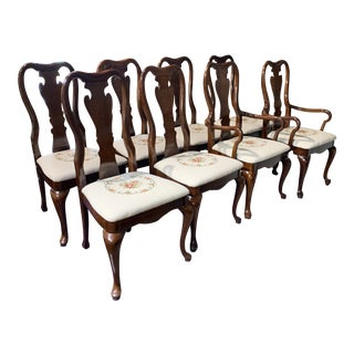 1980s Thomasville Furniture Queen Anne Dining Chair - Set of 8 For Sale