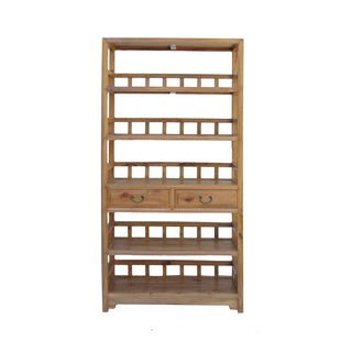 Chinese Camphor Wood Simple Display Curio Bookcase