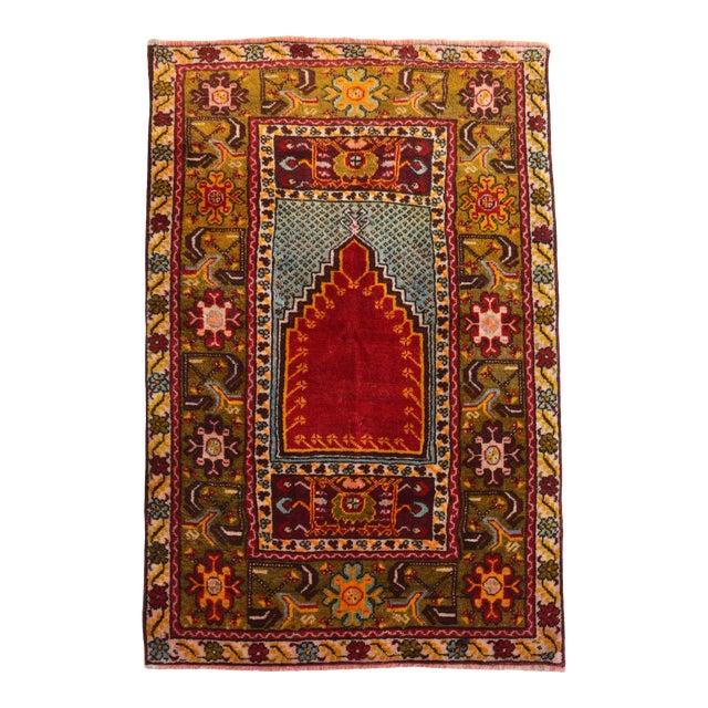 """Antique Turkish Rug Hand Knotted Prayer Rug - 3'4"""" X 5' For Sale"""